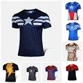 NUEVO 2016 Marvel Capitán América 2 Superhéroe lycra medias de compresión nuevo T shirt Hombres ropa de deporte manga corta S-XXXXL