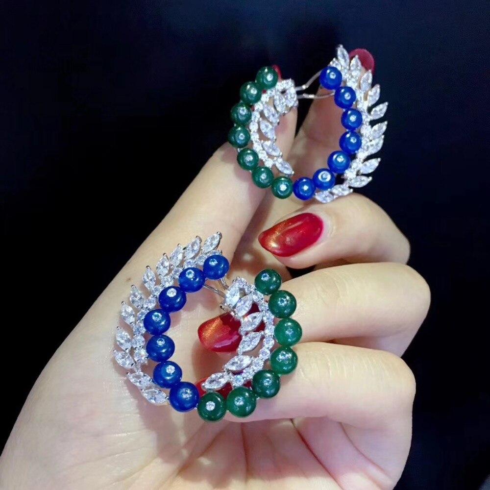 Boucle d'oreille en jade 925 en argent sterling, boucle d'oreille en cercle, bleu vert, couleur mélangée, teinte, fine, bijoux pour femmes, livraison gratuite