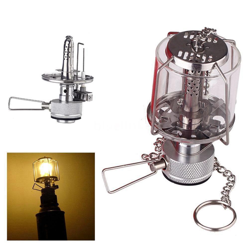 DSHA -Mini Camping Lantern Gas Light Portable Tent Glass Lamp Butane 80LUX Light BL