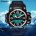Мужские спортивные часы BOAMIGO, светодиодные цифровые аналоговые наручные часы для плавания, водонепроницаемые желтые резиновые Подарочные ...