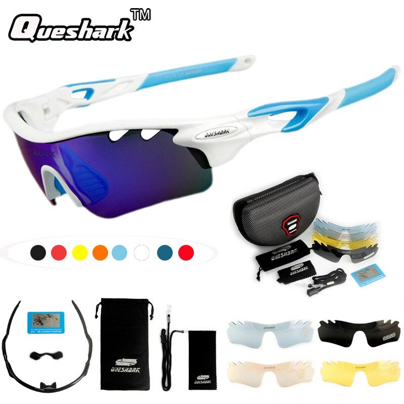 Queshark 5 Lens Polarized Cycling font b Sunglasses b font Bike Goggles Tour De France Bicycle
