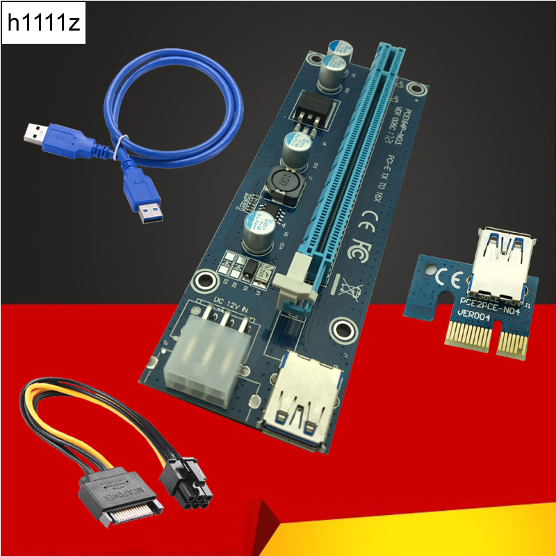 006C PC PCIe PCI-E PCI Express Riser Card 1x to 16x USB 3.0 Data Cable SATA to 6Pin IDE  ...