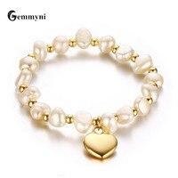 Douce Perle Bracelets Pour Femmes Filles Femme Coeur Amour Hamsa Main Fatima Evil Eye Charmes Perles Vierge Marie Or Bijoux 2017 Nouveau