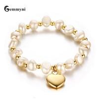 Sweet Pearl Bracelets For Women Girls Femme Heart Love Hamsa Hand Fatima Evil Eye Charms Beads Virgin Mary Gold Jewelry 2017 New