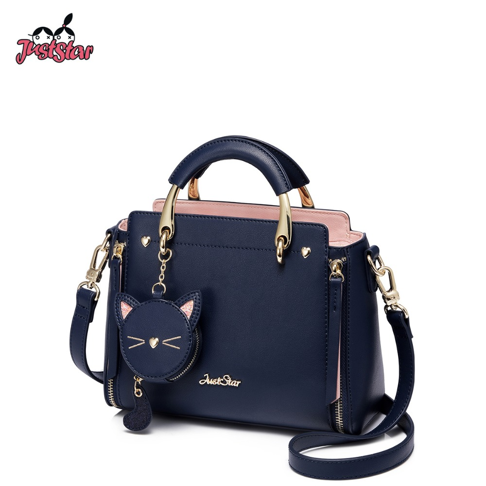 JUST STAR Women s PU Leather Handbags Ladies Embroidery Cat Tote Purse Female Tassel Panelled Leisure