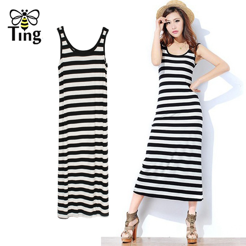 Tingfly Classic Summer Women Midi Sleeveless Vest Dress Casual Long Modal Striped Dress Beach Vestidos Mujer Black White Striped
