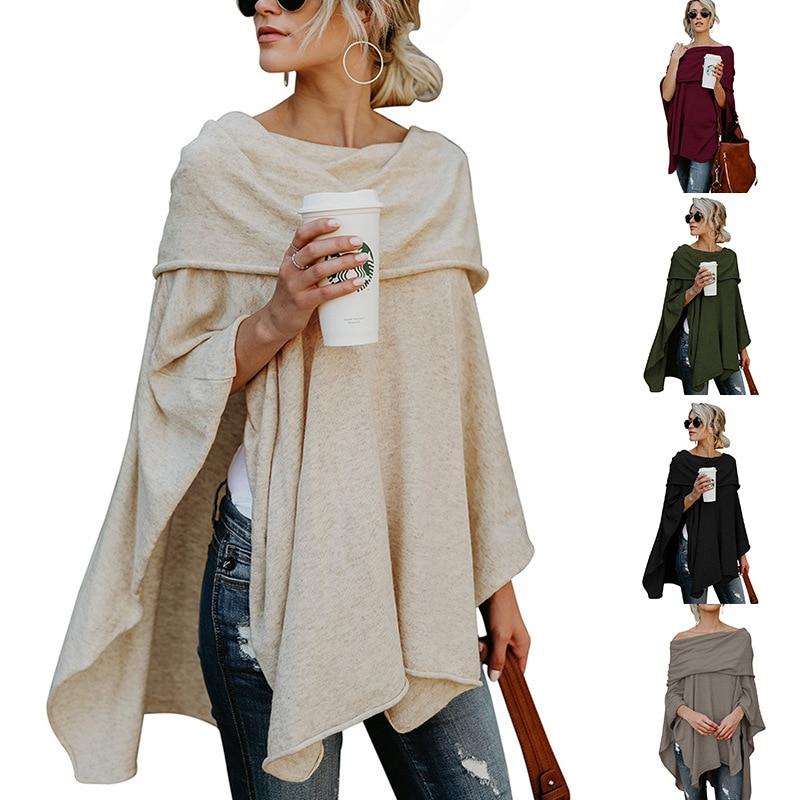 Donne della molla Lunga Felpe Collare Sciarpa Più Il Formato XL Maniche Lunghe Casuale Feminino Cime di Colore Solido Irregolare Shirt Oversize