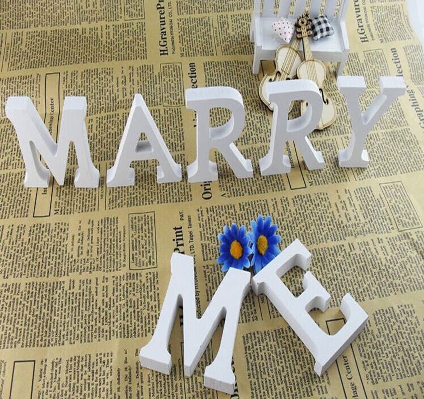 Wedding Decorations Wooden Letters White Wood Alphabet Decorative Crafts  Romantic Home Birthday Party Event Supplies Kids In Figurines U0026 Miniatures  From ...