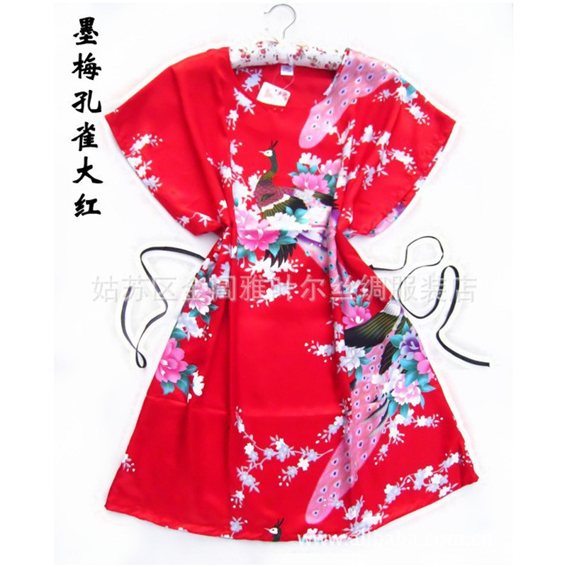 New Arrival Red Peacock robe pajamas Chinese Womens Silk Rayon Robe Bath Gown One Size Flower Free Shipping
