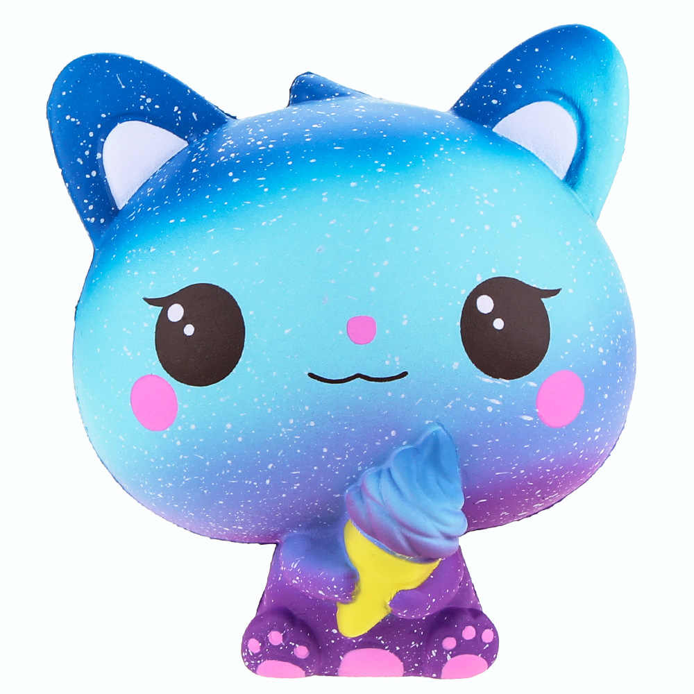 Nouveau Galaxy crème glacée chat Kitty Squishy lente augmentation mignon Jumbo sangle doux serrer parfumé pain gâteau jouet cadeau enfant amusant 11*11*7CM