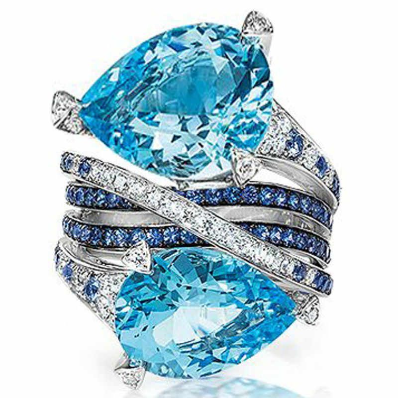 2018 Fashion Rings Jewelry Multi Blue Cut Water Drop Stone Birthstone Ring for Women Bridal Wedding Jewelry Size 5-12