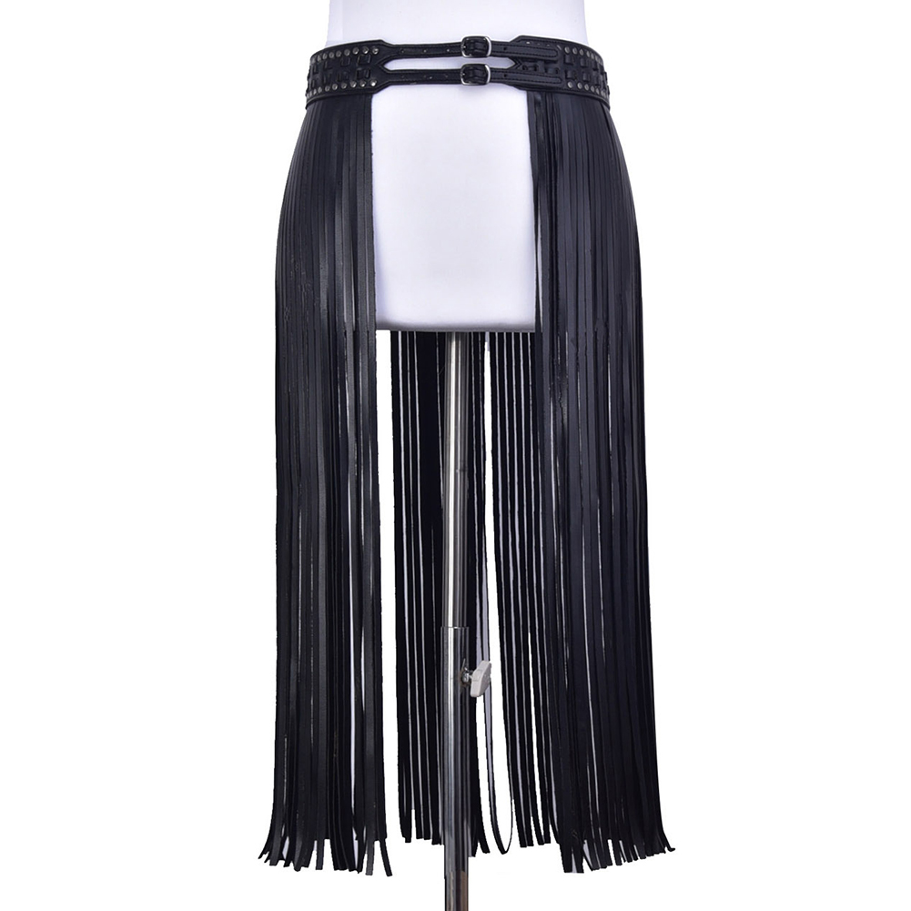 Women Fashion Double Buckle Fantastic Party Skirt Belt Tassels Waist Hippie Girdle Long Fringe Dress Decor Corset PU Leather