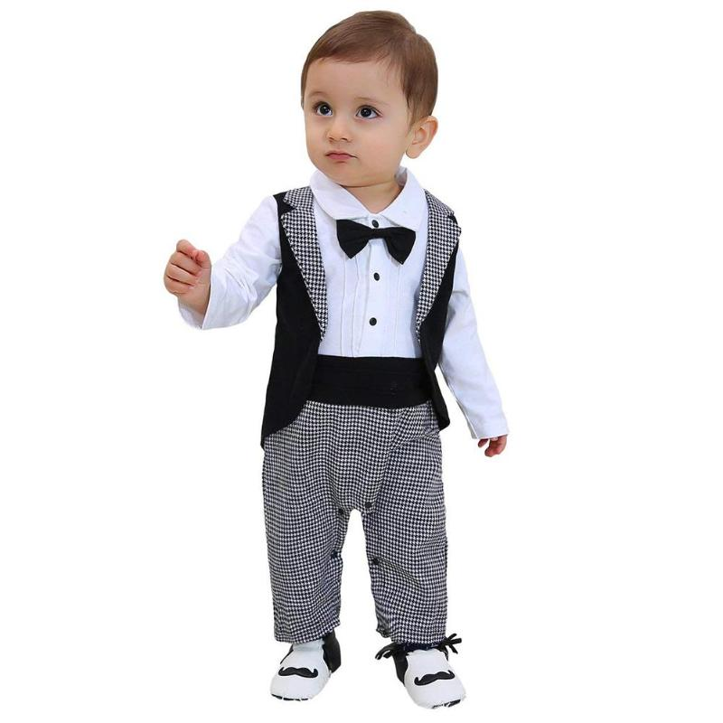 Baby Boy GentlemanTuxedo Romper Suit Infant Suit Necktie Newborn Boys Party Clothes for Baby Boys Clothing Outfit Rompers 0-18M