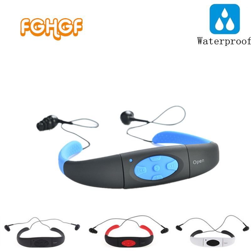 8GB (4GB) Waterproof Sports MP3 Player Neckband Stereo Headset Music Player 4/8GB IPX8 Water Proof Swimmimg MP3 with FM Radio mp3 плеер ime 2015 mp3 8gb mp3 fm ipx8 waterproof mp3 player