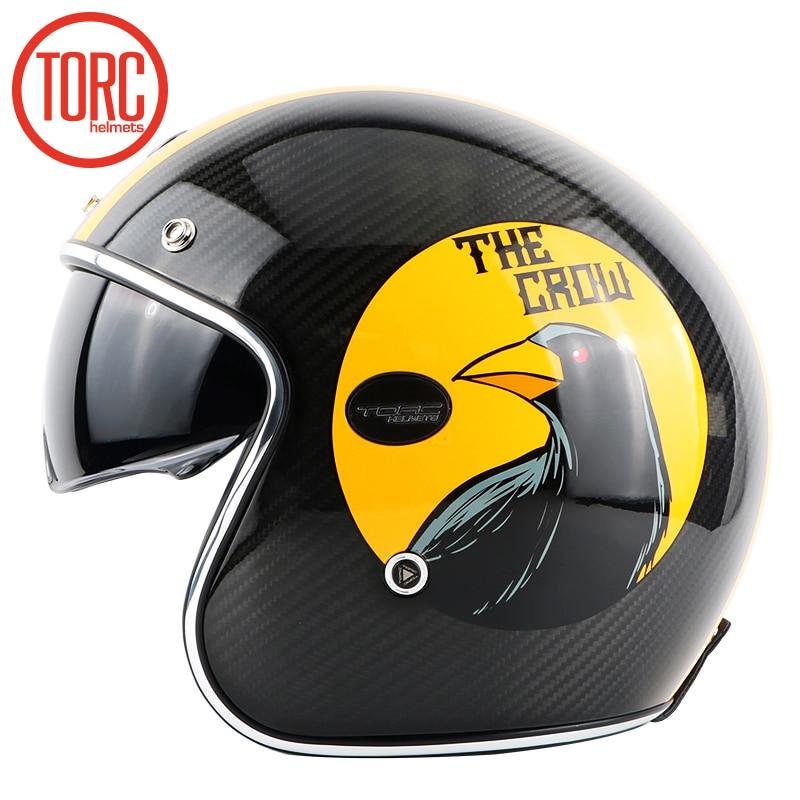 TORC brändi süsinikkiust MOTO kiiver casco capacetes vintage jet - Mootorrataste tarvikud ja osad - Foto 5