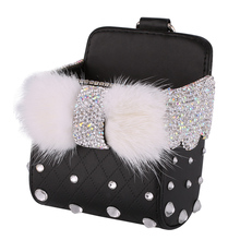 Beautiful Shining Rhinestones Car Leather Phone Hanger Box