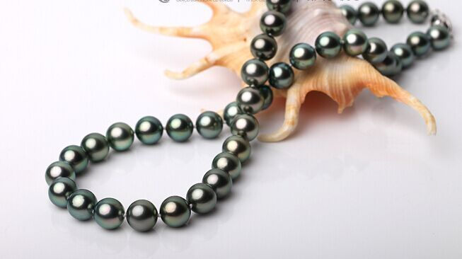 """19"""" 8-9mm Tahitian genuine black peacock green round pearl necklace AA+ (0926)"""