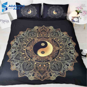 Black Mandala Tai Chi Adult's Bed Cover Bed Comfortable Microfiber Bedclothes Pillowcase Queen Size Bedding Duvet Cover Set