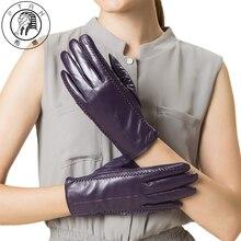 Фотография PTAH Sheepskin Genuine Leather Gloves Winter Women Wrist Fleece Lined Luvas Thickened Warmth Solid Iglove Soft Guantes PT9906
