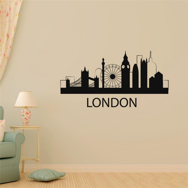 T05058 london silhouette wall stickers removable travel europe city wall decal sticker home decor sticker london