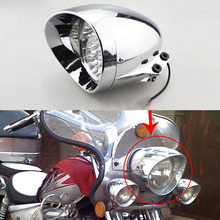 New 7 Chrome 35W H4 3 wires Motorcycle Bullet Headlight Front Light LED font b Lamp