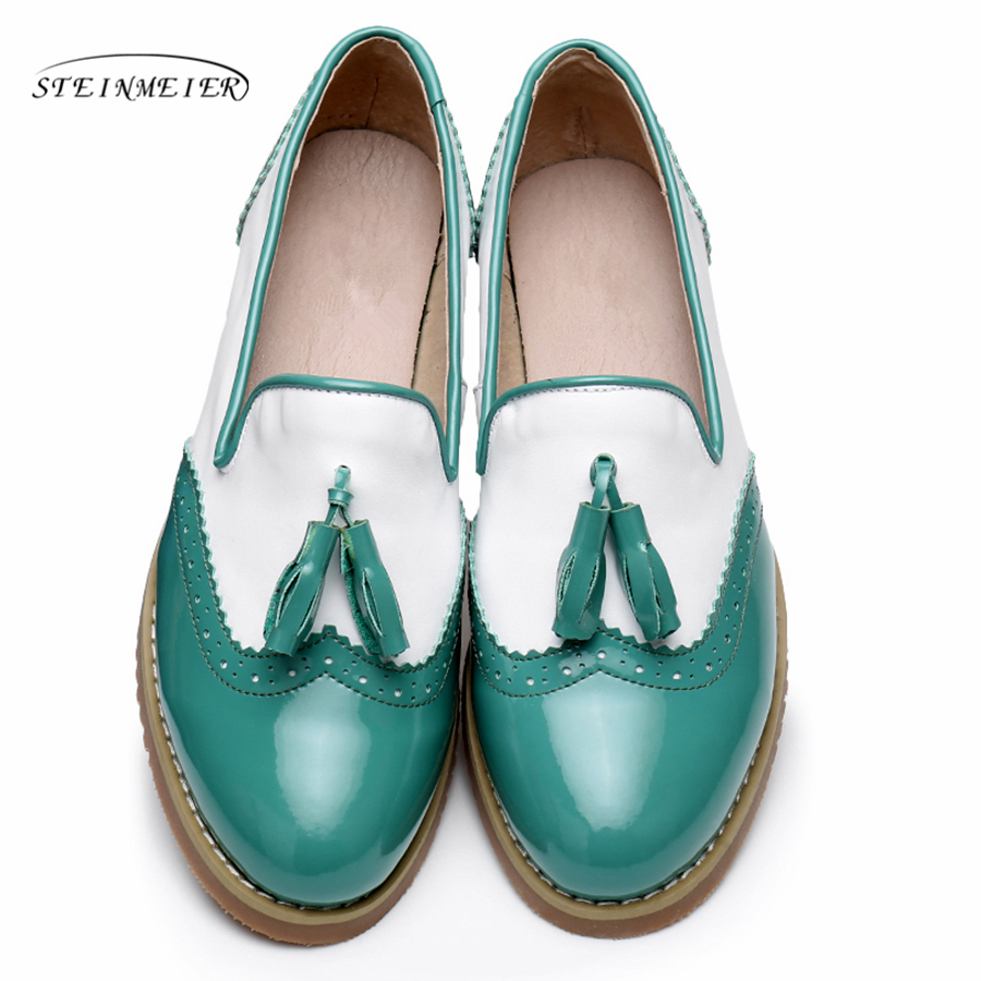 Genuine cow leather brogues designer vintage flats women shoes handmade red black green oxford shoes for women with fur
