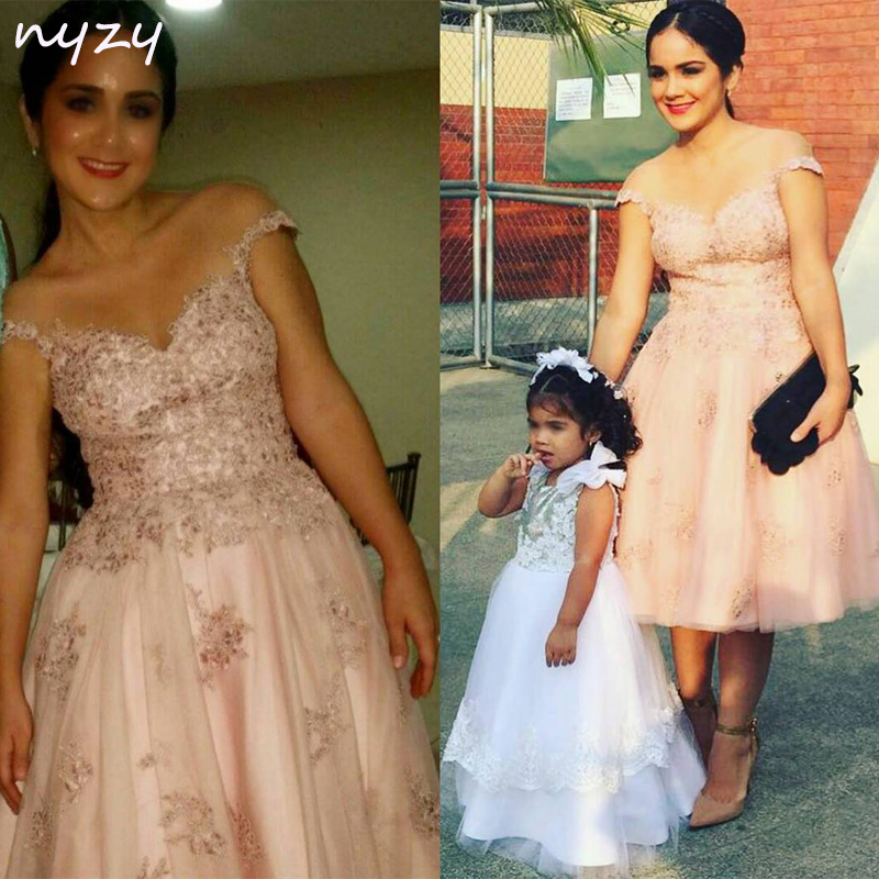 NYZY C15 2019 Elegant Formal   Dress   Party Tulle Tea Length Lace Appliques Ball Gown Sleeveless Pink Robe   Cocktail     Dresses