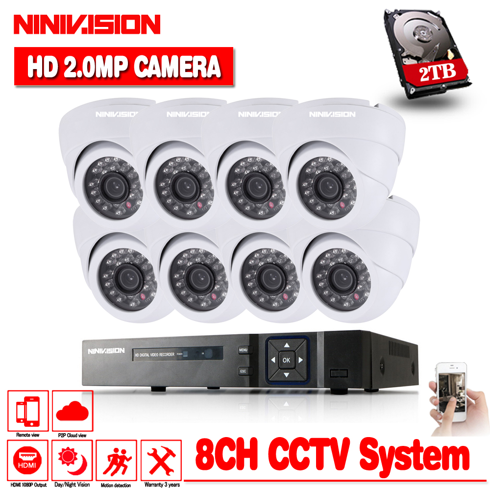 Home 1080P 8CH AHD DVR HD CCTV Security Camera 8pcs indoor White Dome Day Night IR