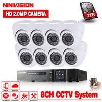 Home 1080P 8CH AHD DVR HD CCTV كاميرا الأمن 8 قطعة في الأماكن المغلقة الأبيض قبة يوم/ليلة الأشعة تحت الحمراء طقم كاميرات المراقبة