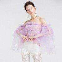 Summer Lavender top Blouse Off Shoulder Top Long Sleeve Elegant Mesh Female Blouse Shirt Chemise Femme High Street Style Top