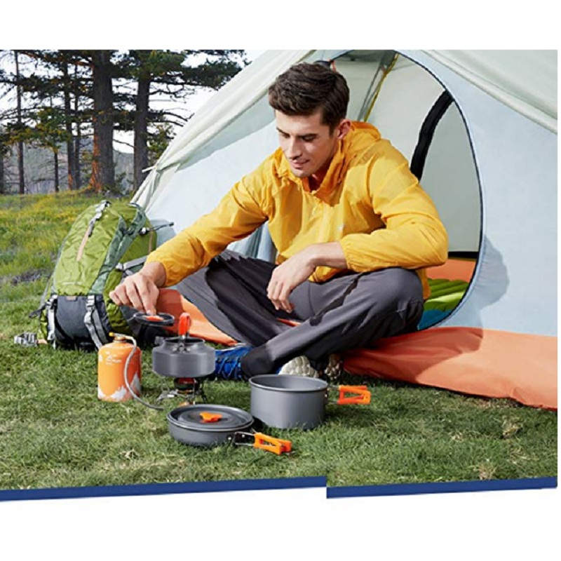 Outdoor Camping Aluminum Alloy Cookware Pot Kettle Foldable Tableware Trekking Picnic Camping Cooking set Picnic Equipment in Outdoor Tablewares from Sports Entertainment