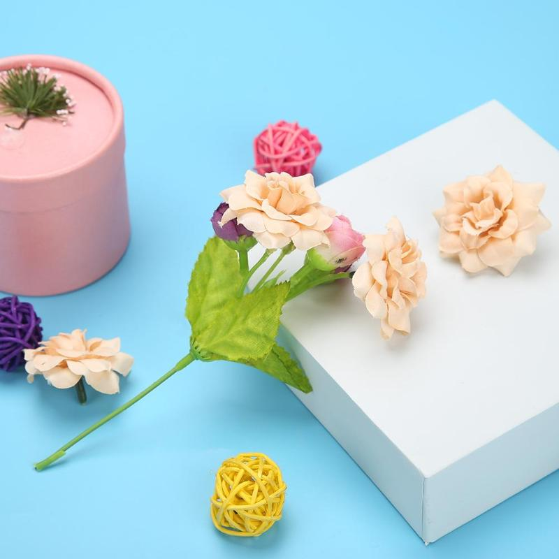 10pcs/bag 4.5cm Artificial Silk cloth Rose Flowers manual DIY Fake Vivid Plastic Roses for Wedding holiday Decoration Supplies