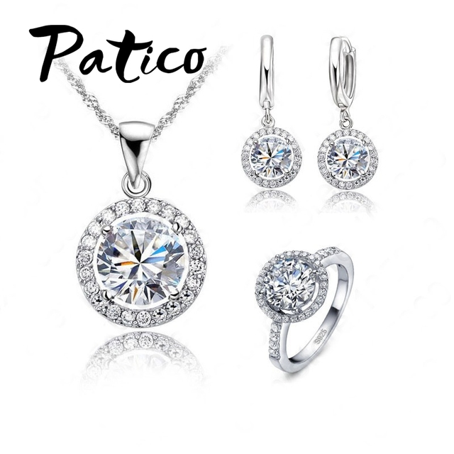 יוקרה נשים חתונת שרשרת עגילי טבעת כלה תכשיטי סט 925 כסף סטרלינג AAA זירקון קריסטל מתנת יום נישואים
