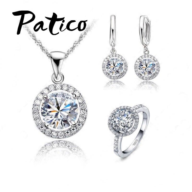 Luxe femmes collier de mariage boucles d'oreilles bague de mariée bijoux ensemble 925 en argent Sterling AAA Zircon cristal cadeau d'anniversaire