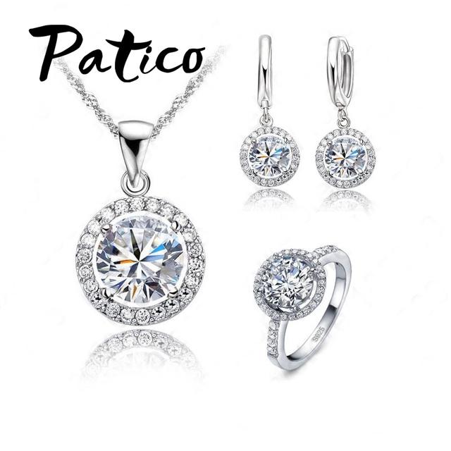 PATICO Luxury Women Wedding Necklace Earrings Ring Bridal Jewelry Set 925 Sterling Silver AAA Zircon Crystal Anniversary Gift