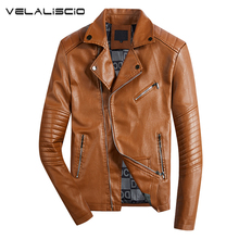 Фотография VELALISCIO 2017 New Autumn Winter men Motorcycle Faux Leather Jackets Men Biker PU Zipper Outerwear Coat With Belt Hot Leather