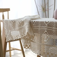 Handmade Crochet Tablecloth Cotton Tablecloths Vintage Weave Table Cover Hollow Out Table Cloth Home Decor