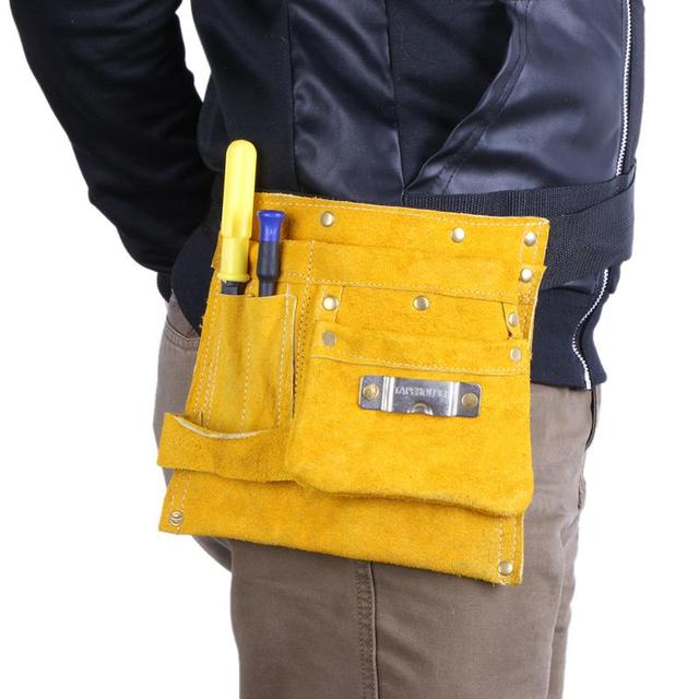 Portable Cow Leather Welding Tool Bag Waterproof Pocket Tools Storage Welders Waist High Quality