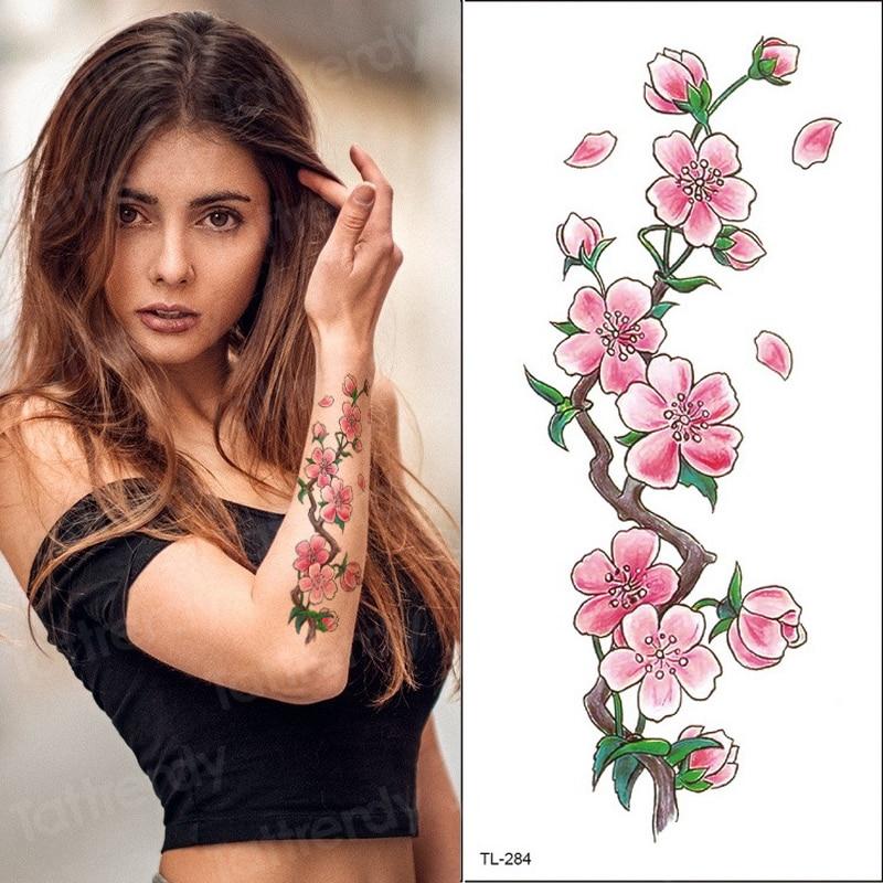Waterproof Temporary Tattoos For Women Girls Temporary Tattoo Sticker Flower Peach Blossom Peony Rose Hand Sleeve Tattoo Water