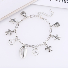 L&H High Quality Anklets For Women Beach Vacation Classic Silver Color Ankle Bracelets Female Starfish/Shell/Turtle Chain