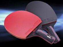 Professional high quality table tennis racket carbon hybrid wood pingpong straight grip racket short handle horizontal grip long