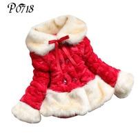 Dzieci Odzież 2018 Nowy Przyjeżdżający Zima Dziewczynka Faux Fur Coat ciepłe Pogrubienie Watowe Kurtka Dziewczyny Boże Narodzenie 2 3 5 6 7 lat