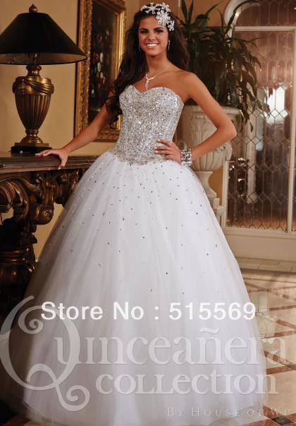 Long ball gown Sweetheart Princess Tulle Beading Sequins Crystle ...