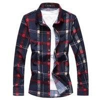 Cigna Large Size S 7XL Long Sleeved Shirt Men S Casual Men Plaid Shirts Loose Comfortable