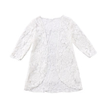 Kids Baby Girls Lace Floral Sunscreen Beach Long Dress Rashguard Outerwear White Lace Floral Outfit(China)