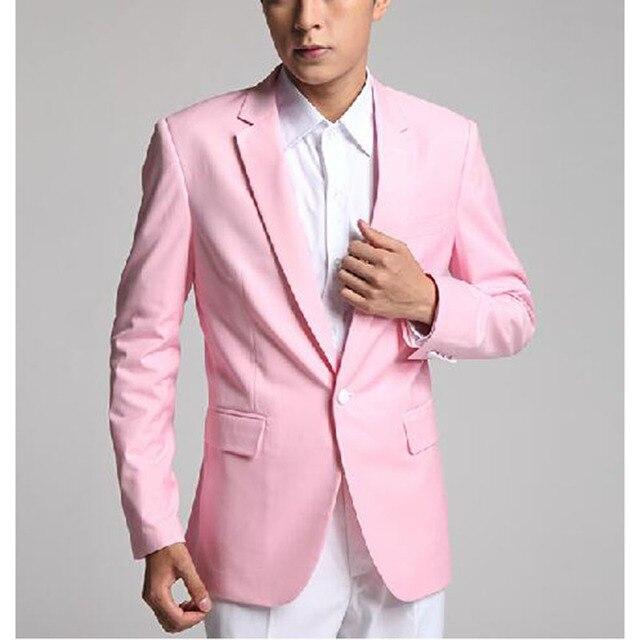 2017 Fresh Pink los mejores hombres traje Esmoquin encargo un botón ...