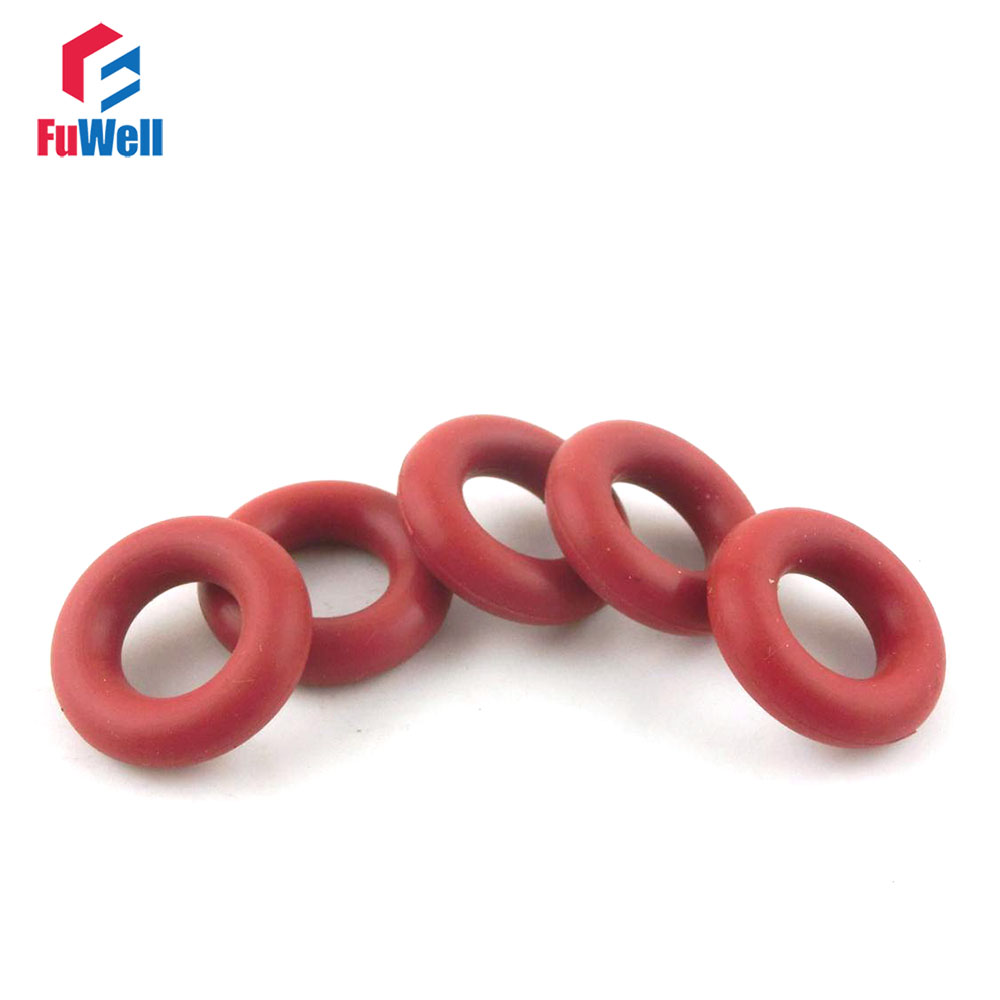 10 Pcs 24mm OD 2.5mm Thickness Red Silicone O Ring Oil Seals