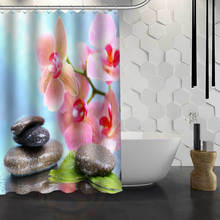 Hot Sale Custom Flower And Stone Custom Shower Curtain Waterproof Fabric Bath Curtain for Bathroom F#Y1-17