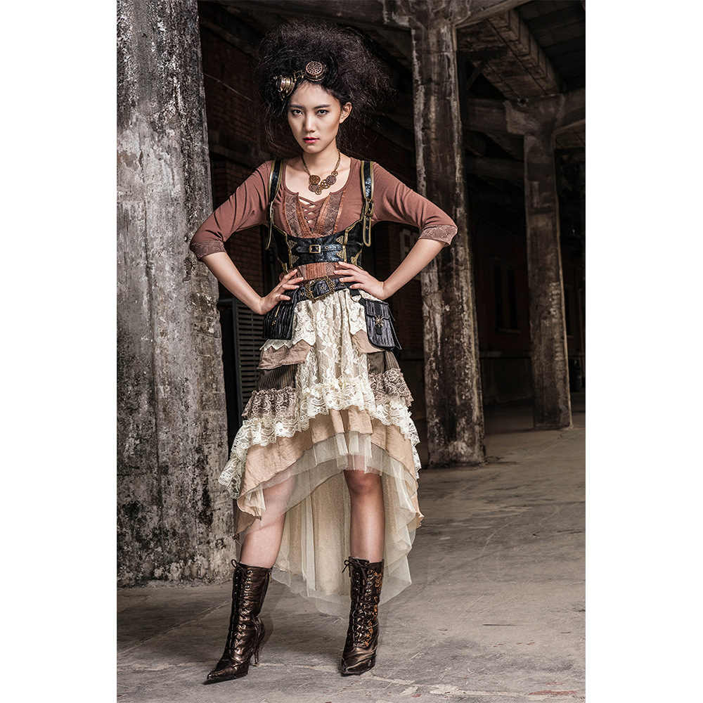 Women White & Brown Vintage Two Piece Irregular High Low Hem Steampunk Long Tiered Lace Skirt