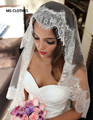 Simple White Ivory Tulle Wedding Veils one Layer Eyelash Lace Edge Bridal Veils Custom Made Bridal Accesories